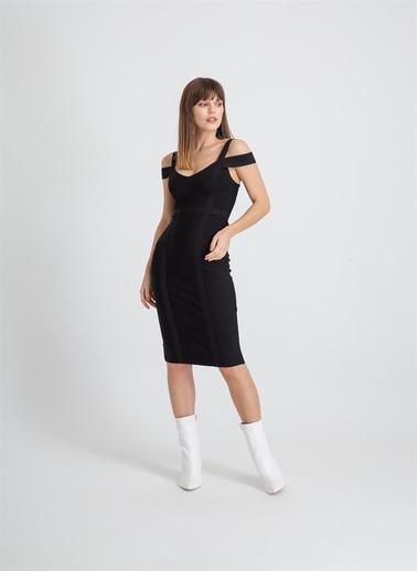 Rue Çift Askı Düşük Kol Triko Elbise Siyah